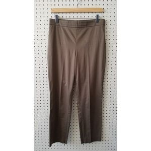 Theory current green-brown flat tapered pants